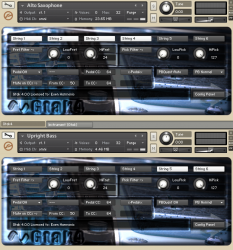 Two Gtak4 instruments in Kontakt4 rack