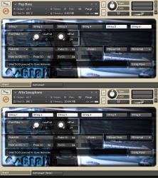 Two Gtak5 instruments in Kontakt5 rack